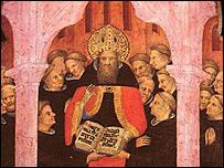 San Agustín con sus discípulos (Pinacoteca de El Vaticano), detalle