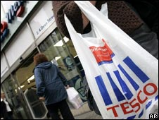 Customer outside Tesco store