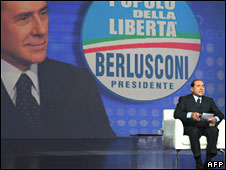 Silvio Berlusconi votes in Milan on 11 April 2008