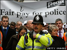 Police officers on a protest march
