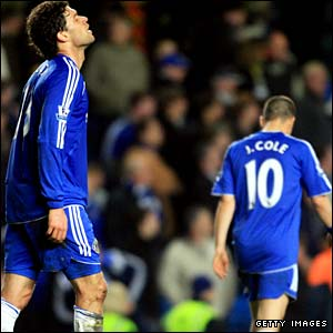 Chelsea players leave the pitch dejected