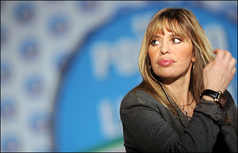 Alessandra Mussolini waits for results to be announced at Silvio Berlusconi's Rome campaign headquarters, 14 April, 2008