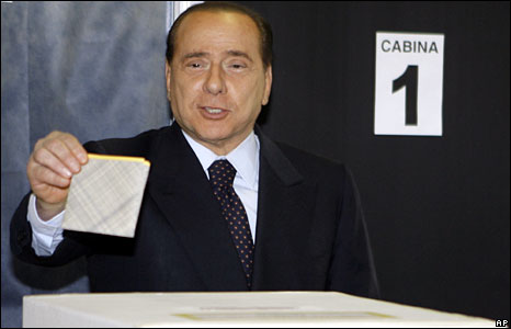 Silvio Berlusconi casts his ballot in a Milan polling station, 13 April, 2008