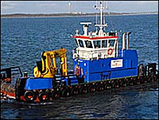 The pipes being put in the Solent