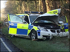 Crashed police car