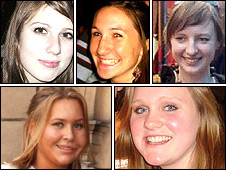 Clockwise, from top left: Indira Swann, Lizzie Pincock, Rebecca Logie, Emily Sadler and Sarah Howard