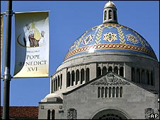 Banner hung at the Catholic University of America in Washington