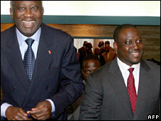 Ivorian President Laurent Gbagbo (l) and Prime Minister Guillaume Soro (r)