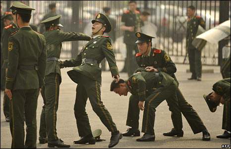 Chinese paramilitary police in Beijing