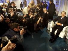 Silvio Berlusconi appears on television