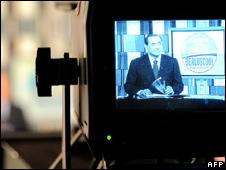 Silvio Berlusconi appears on Italian television