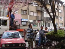 Scrapping cars in Pristina, Kosovo