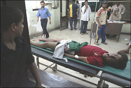 Injured man at a clinic in Baghdad's Sadr City on 15 April 2008