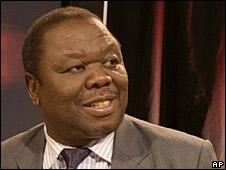 Morgan Tsvangirai prepares for a TV interview in Johannesburg, 14 April 2008