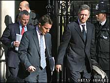 Bankers leaving after their meeting with Gordon Brown