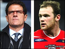Fabio Capello (left) and Wayne Rooney