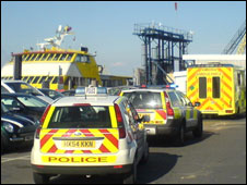 Emergency services were called to the ferry blaze