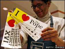 Pope Benedict bumper stickers on sale in Washington DC