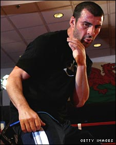 Joe Calzaghe at a public workout in Las Vegas