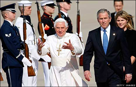 Pope Benedict walks off in the company of George W Bush and the US leader's daughter, Jenna