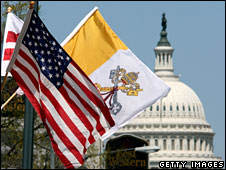 The flags of the US and the Holy See in Washington, 15 April, 2008