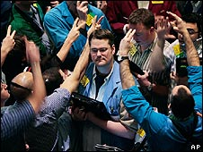 Oil traders on the floor of the New York Mercantile Exchange