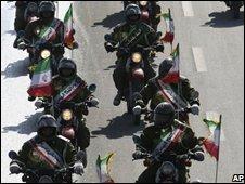 Iranian police on motorbikes