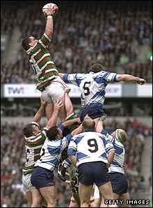 Johnson catches the ball in the line-out during the Pilkington Cup final against Sale in May 1997