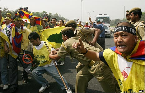 Indian police break up a protest by Tibetan activists in Delhi