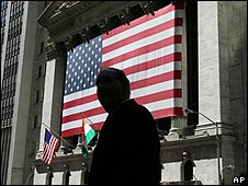 Man outside New York Stock Exchange