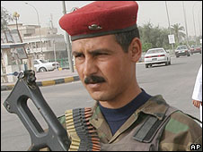 Iraqi army soldier at checkpoint in Basra