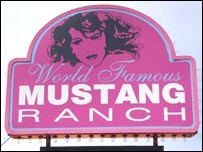 Sign for Mustang Ranch