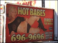 "Advert from the strip for ""hot babes"""