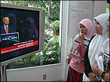 Indonesians watch coverage of Super Tuesday