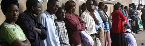 People in queue in line in Harare