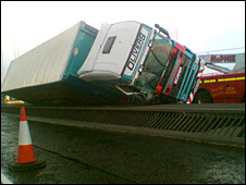 A lorry was blown over on the bridge in January
