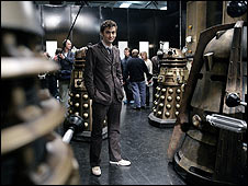 David Tennant and Daleks on Doctor Who set