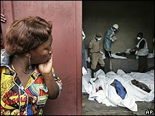 A woman checks a mortuary trying to find a relative after a plane crash in DR Congo, 16/04/08