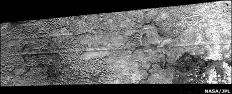 Features resembling river valleys on Titan (Nasa/JPL)
