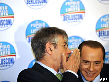 Umberto Bossi and Silvio Berlusconi in Rome, 16 April, 2008