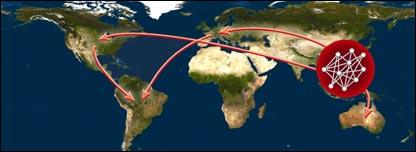 Mapa de migración del virus de influenza A (Imagen cortesía de NASA-Universidad de Cambridge)