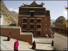 Tibetan monks are seen at the Labrang monastery as life returns to normal in Xiahe, western China's Gansu province, Friday, April 4, 2008.