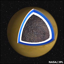 Artist's impression of Titan's core (Nasa/JPL)