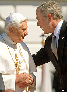 Pope Benedict XVI and US President George W Bush