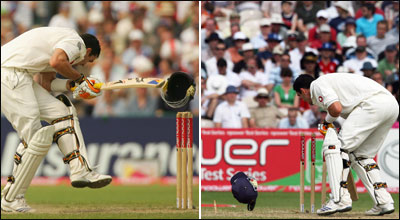 Kevin Pietersen has his helmet knocked off and on to the stumps by the bowling of Dwayne Bravo