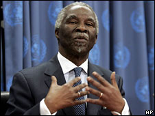 Thabo Mbeki speaks at a news conference at the UN's New York headquarters, 16 April, 2008