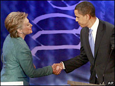 Hillary Clinton (left) and Barack Obama shake hands during the Pennsylvania debate