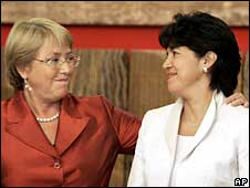 Michelle Bachelet and Yasna Provoste after the minister's suspension