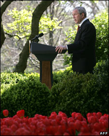 President George W Bush speaking in the Rose Garden of the White House in Washington on 16 April 16