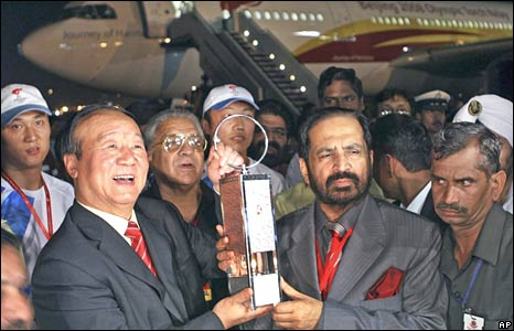 The Olympic flame arrives in Delhi